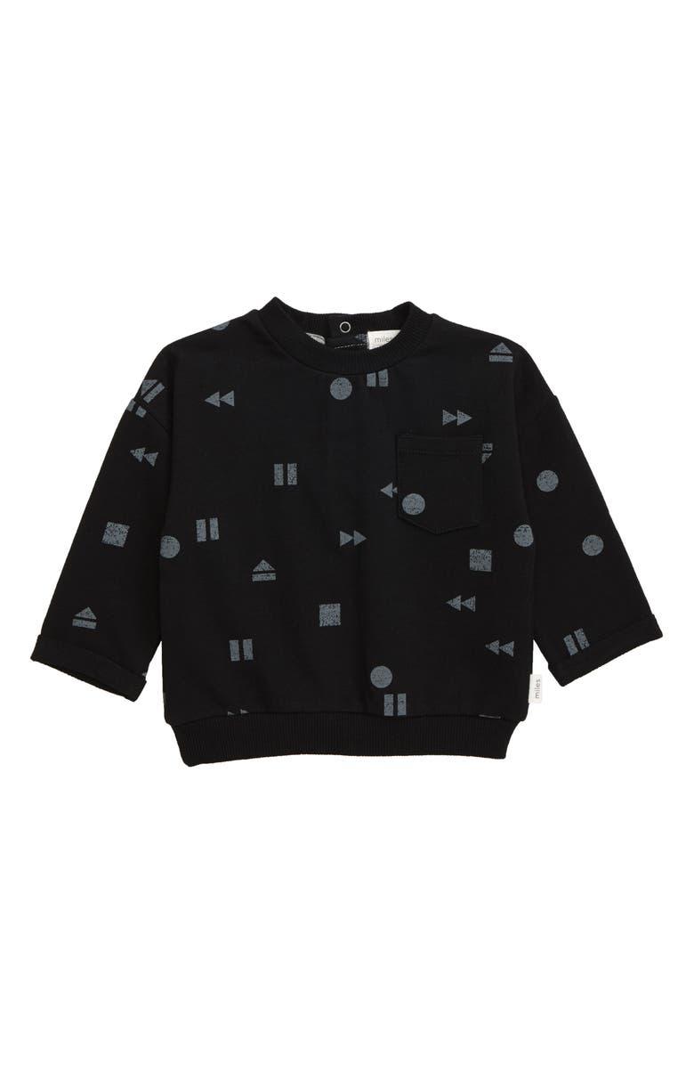 MILES BABY Stretch Cotton Sweatshirt, Main, color, 900 BLACK
