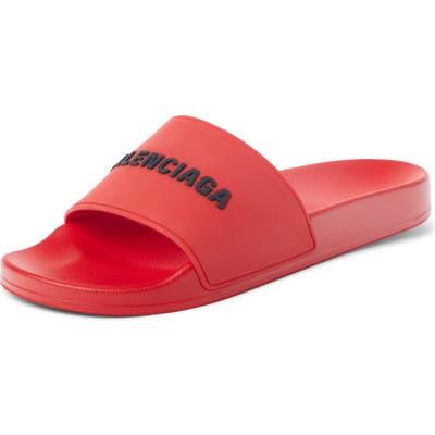 Balenciaga Logo Slide Sandal, Red
