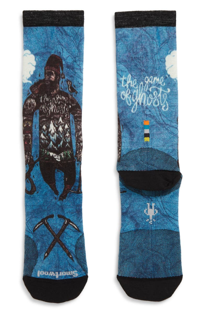 SMARTWOOL Curated Game of Ghosts Crew Socks, Main, color, BLUE/ BLACK MULTI