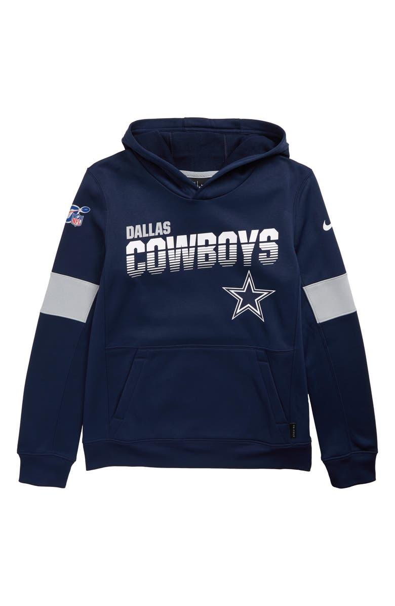 NIKE NFL Logo Dallas Cowboys Therma Hoodie, Main, color, NAVY