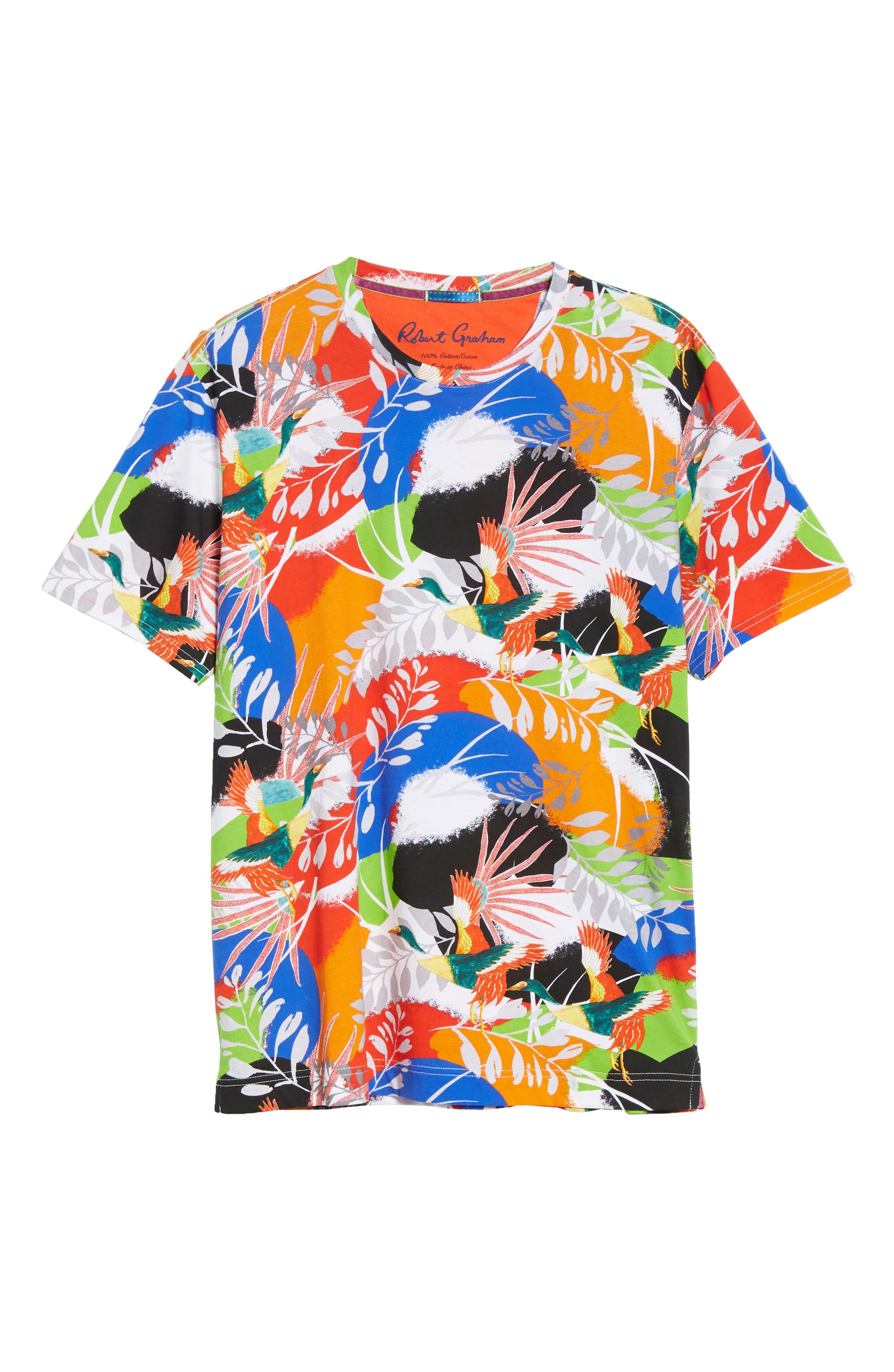 ,                             Flying Crane Tailored Fit T-Shirt,                             Alternate thumbnail 6, color,                             MULTI BLUE