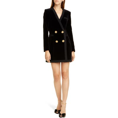 Saloni Bree Velvet Long Sleeve Blazer Dress, Black
