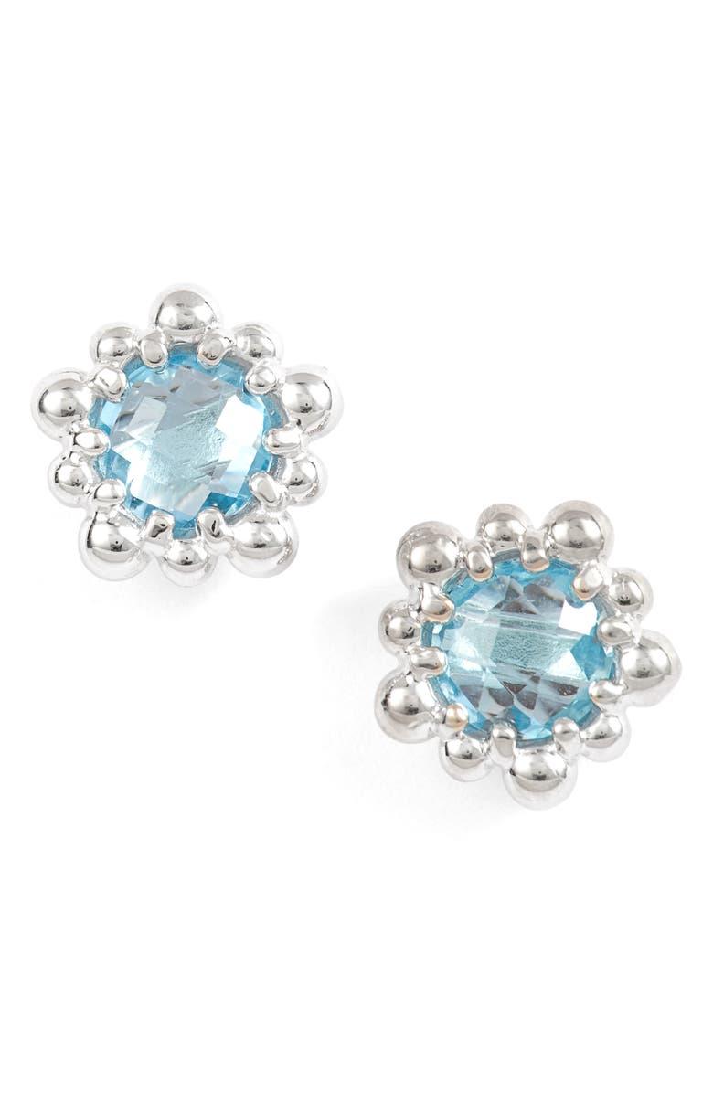 ANZIE Micro Dew Drop Topaz Earrings, Main, color, BLUE TOPAZ
