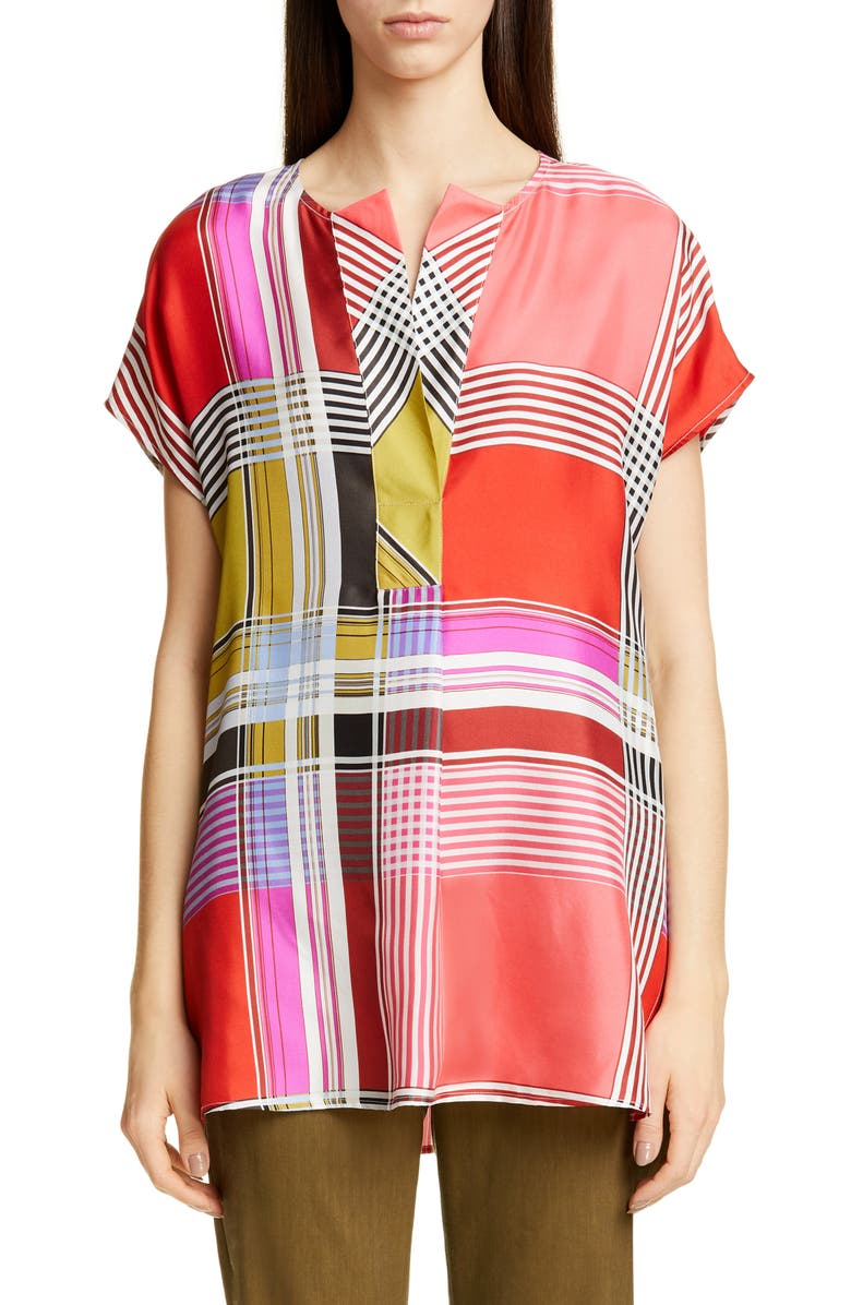 ST. JOHN COLLECTION Madras Plaid Silk Twill Blouse, Main, color, MAGENTA MULTI