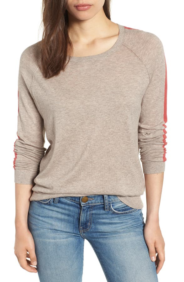 8baf470d8c8a4f Velvet by Graham & Spencer Lux Cotton Stripe Sleeve Sweater   Nordstrom