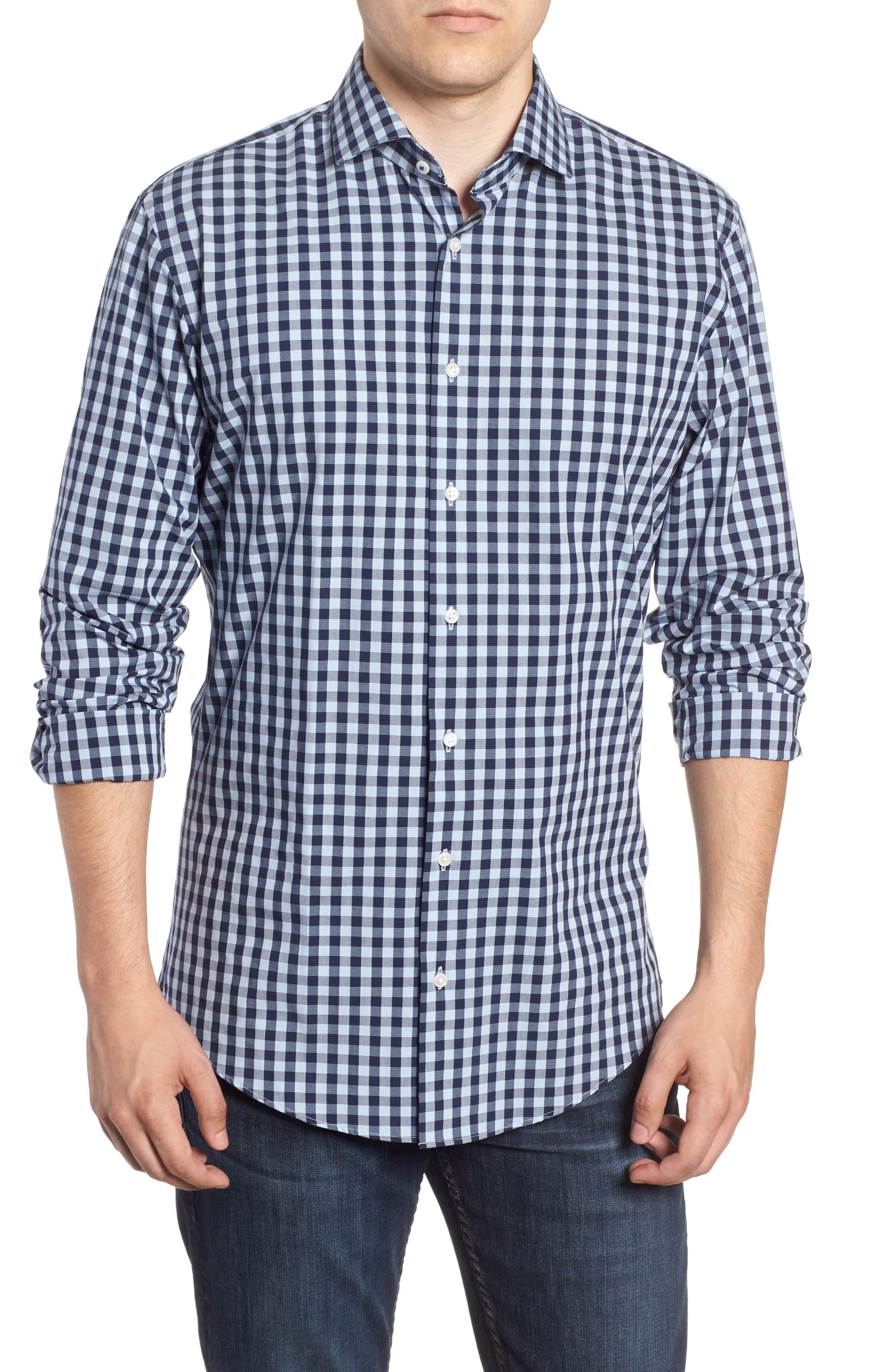 ,                             Tech-Smart Trim Fit Stretch Check Dress Shirt,                             Main thumbnail 21, color,                             415