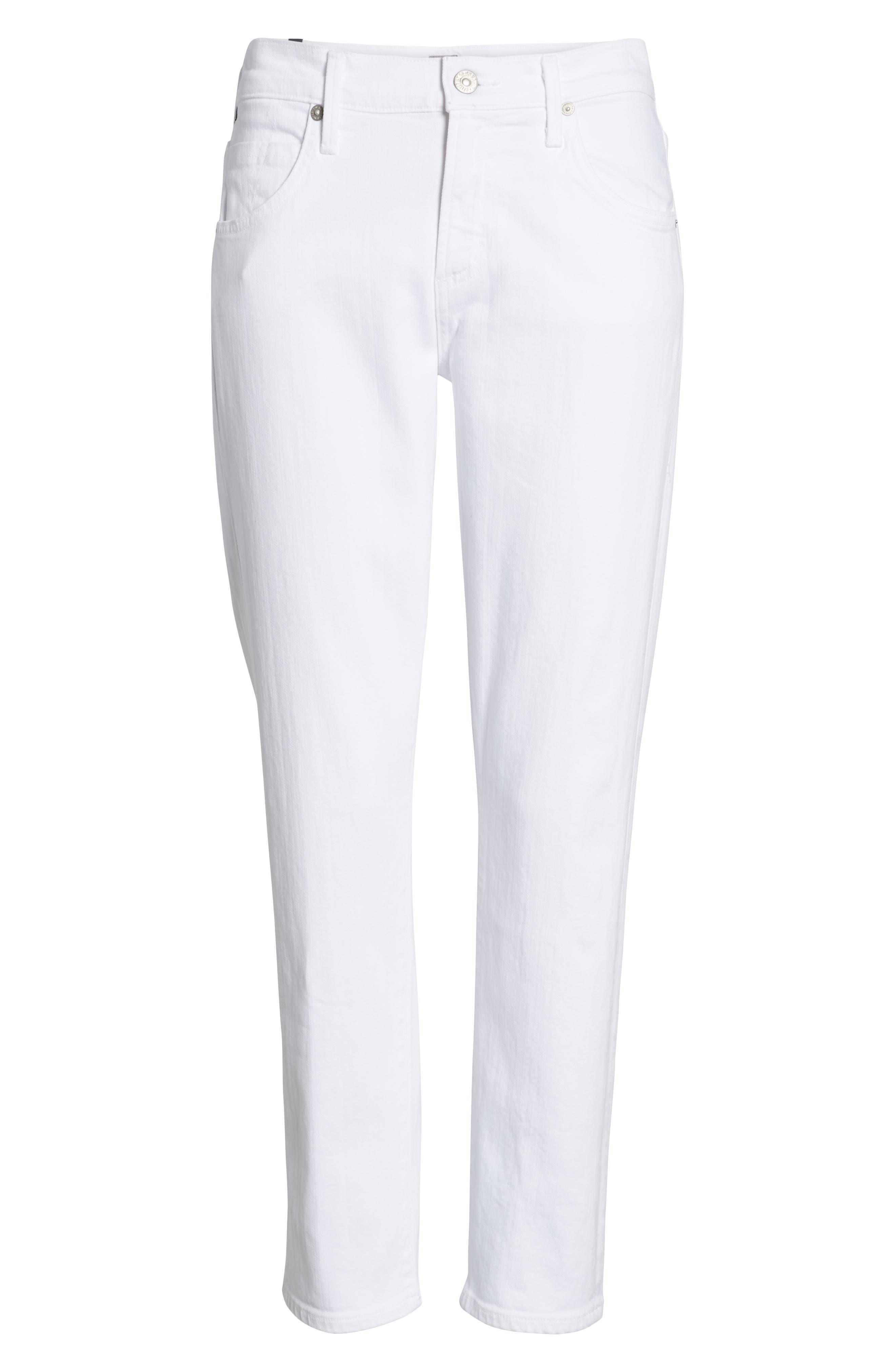,                             Elsa Crop Slim Jeans,                             Alternate thumbnail 7, color,                             OPTIC WHITE
