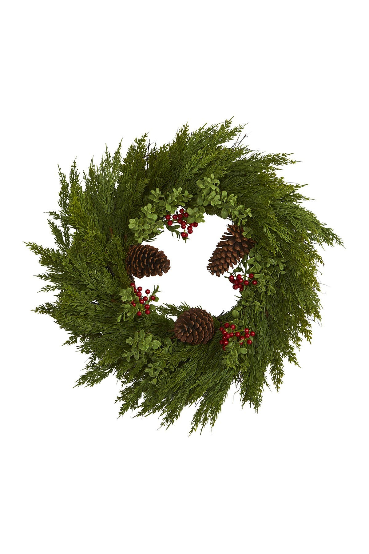 "Image of NEARLY NATURAL 26"" Cypress, Berries, & Pinecones Artificial Wreath"