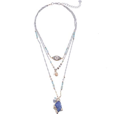 Nakamol Design Drusy Evil Eye Layered Necklace