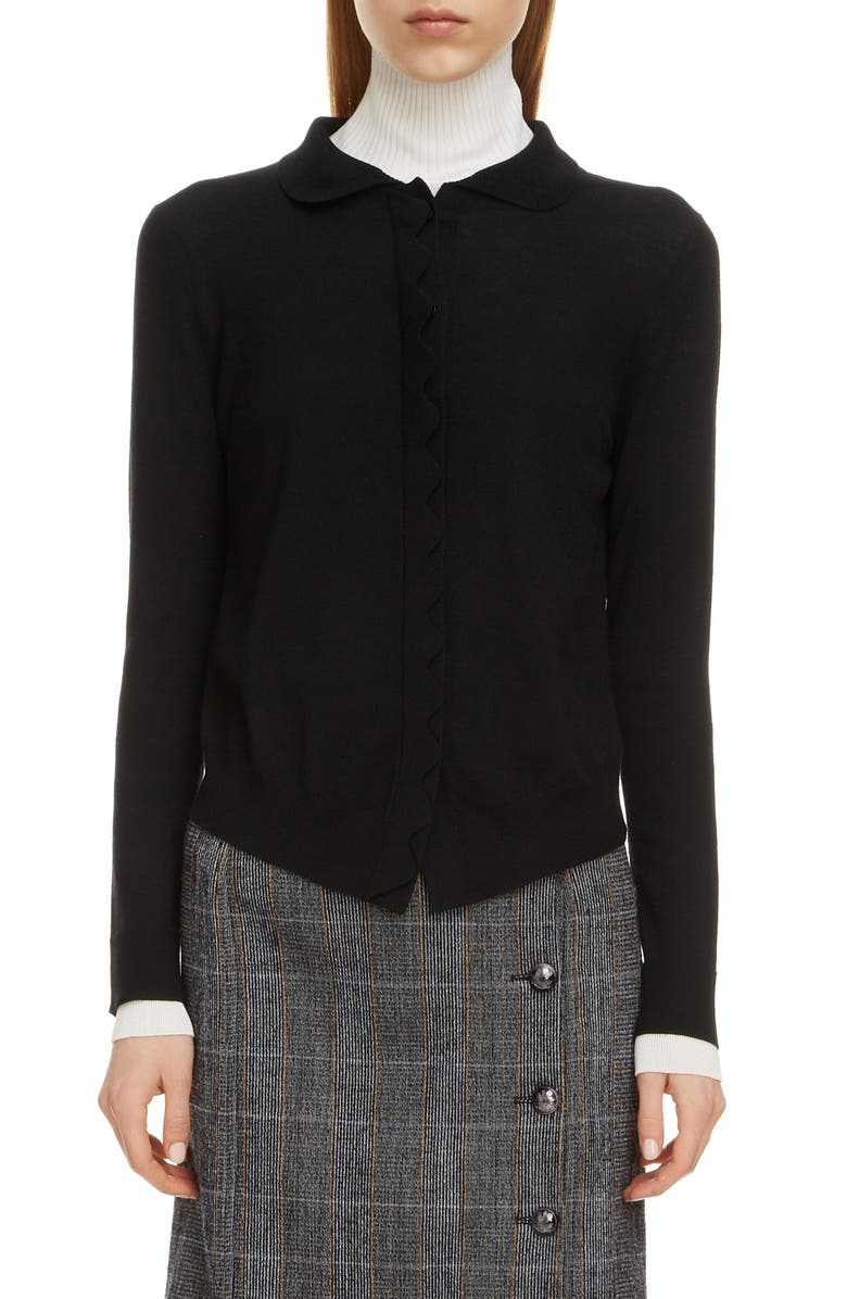 CHLOÉ Scalloped Placket Wool Cardigan, Main, color, BLACK