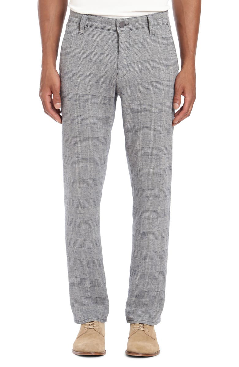 34 HERITAGE Naples Straight Leg Glen Plaid Pants, Main, color, GREY