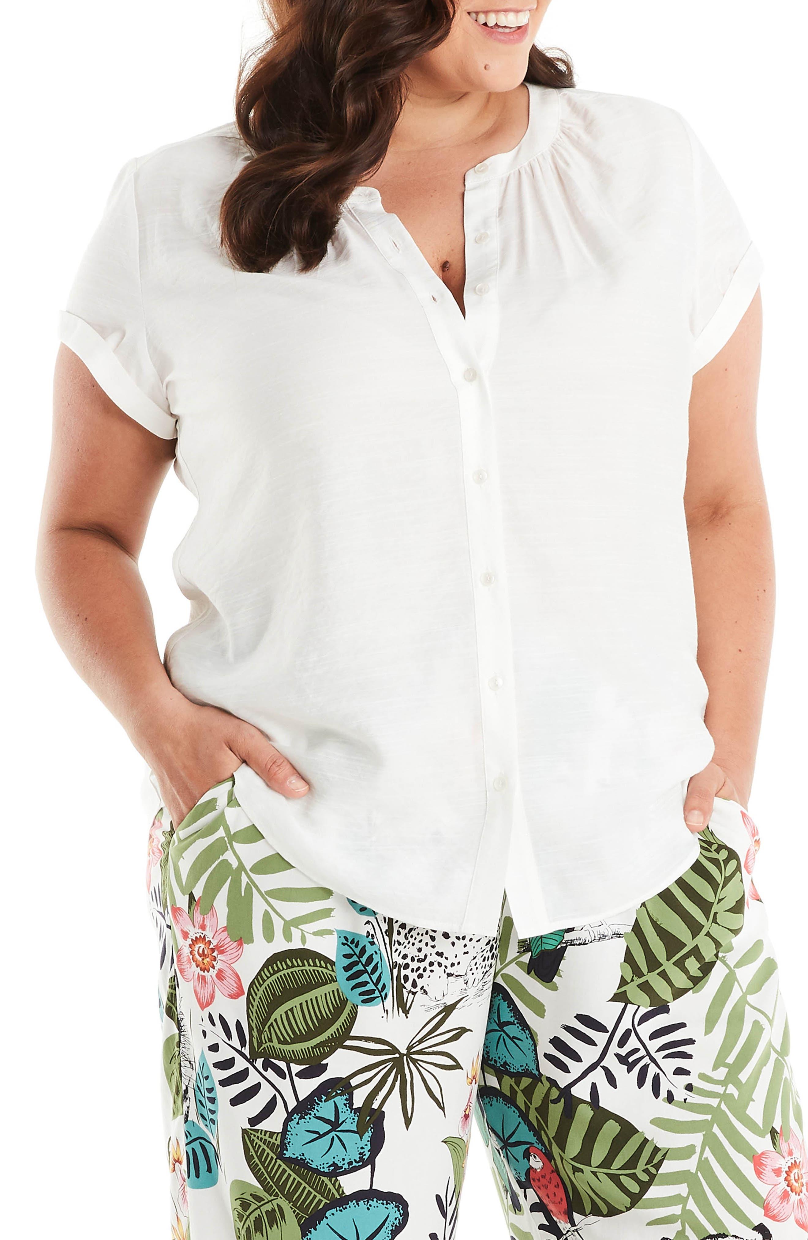 Sierra Short Sleeve Button-Up Blouse