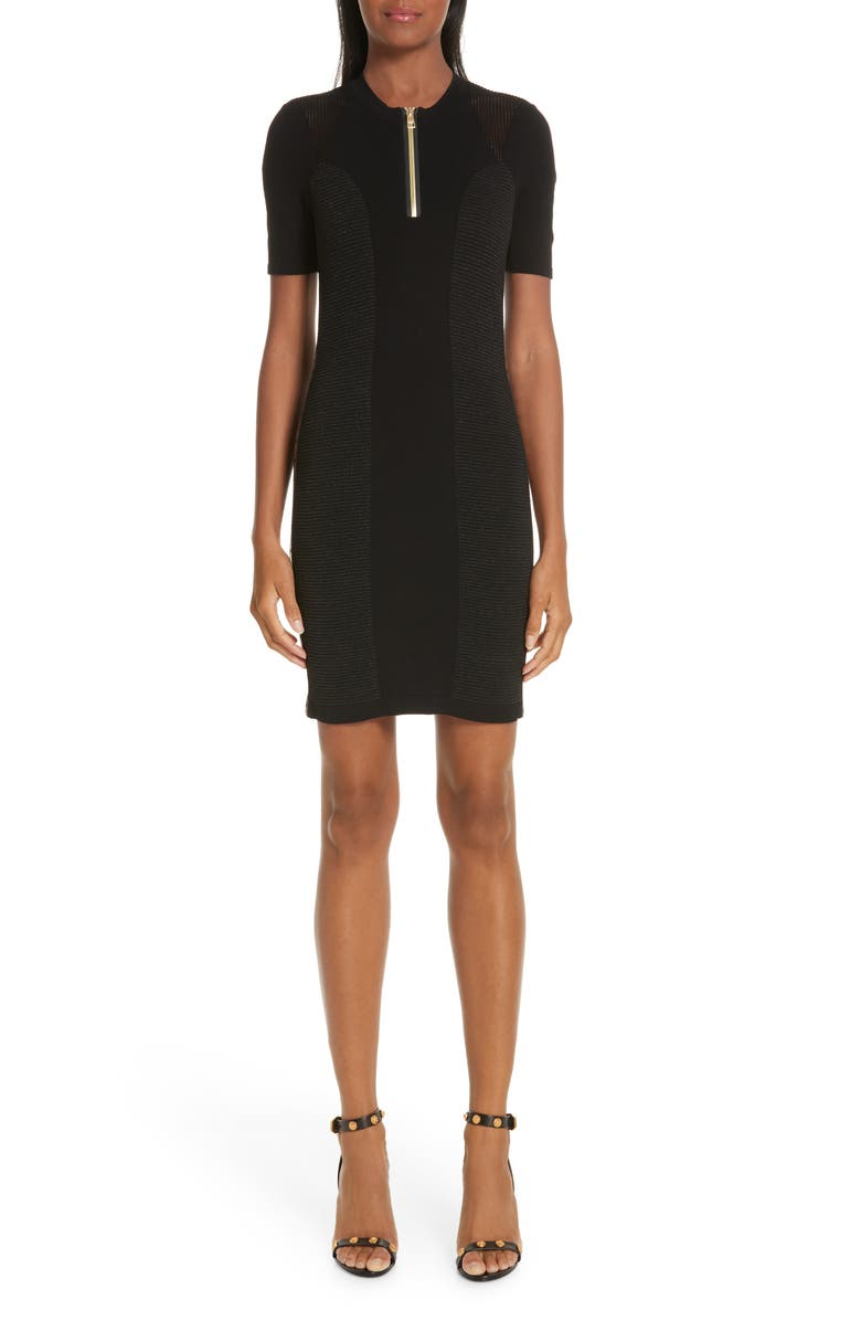VERSACE COLLECTION Logo Trim Body-Con Dress, Main, color, 001