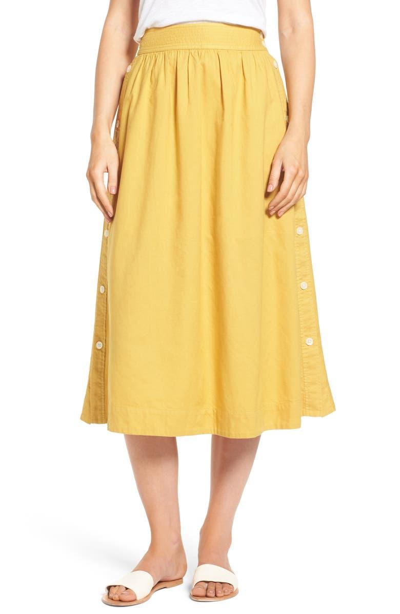 MADEWELL Side Button Midi Skirt, Main, color, 700