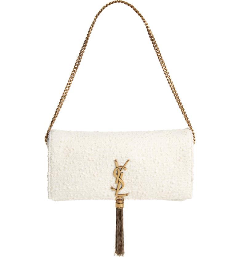 SAINT LAURENT Kate Bouclé Shoulder Bag, Main, color, CRAIE/CRAIE