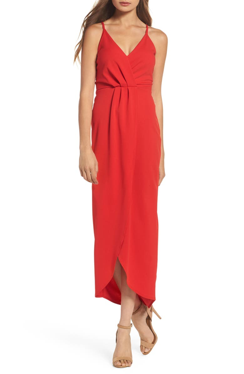 FRAICHE BY J High/Low Slipdress, Main, color, RED