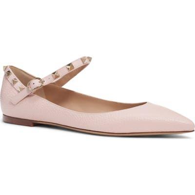 Valentino Garavani Rockstud Mary Jane Pointed Toe Flat - Beige