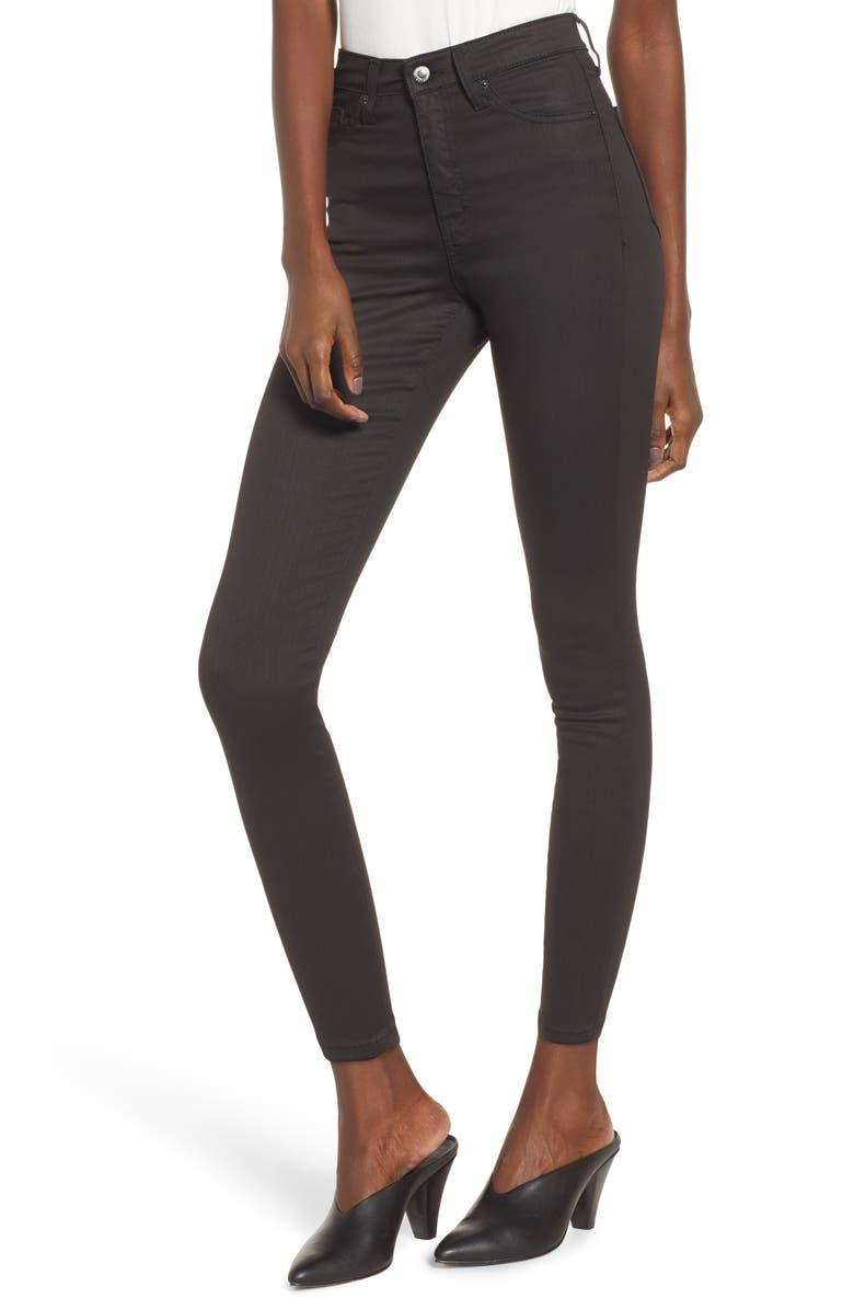 TOPSHOP Jamie Coated High Waist Skinny Jeans, Main, color, BLACK