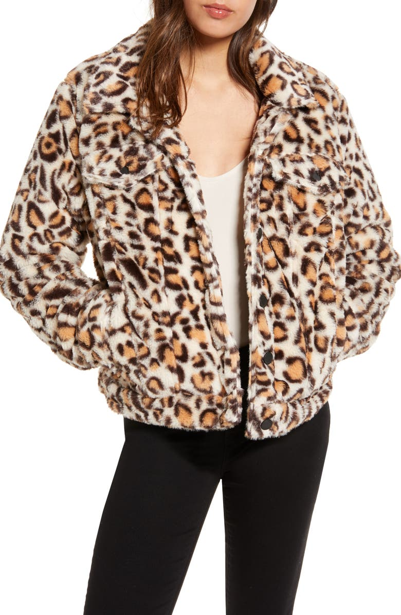 BLANKNYC Cozy Teddy Trucker Jacket, Main, color, LEOPARD PRINT
