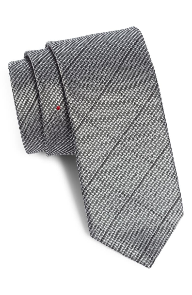 TITLE OF WORK Windowpane Silk Tie, Main, color, BLACK WHITE/ RED