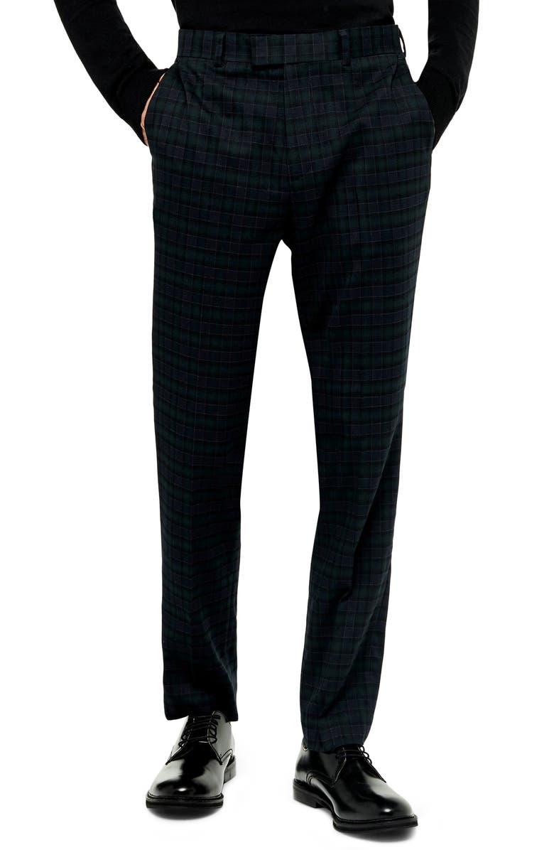 TOPMAN Bampton Check Skinny Fit Suit Pants, Main, color, NAVY BLUE