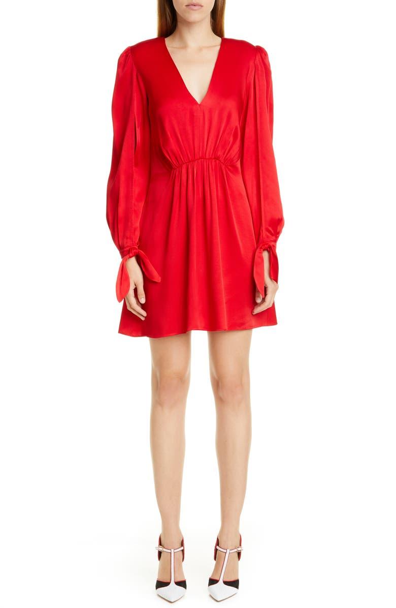 HANEY Split Long Sleeve Satin Minidress, Main, color, RED