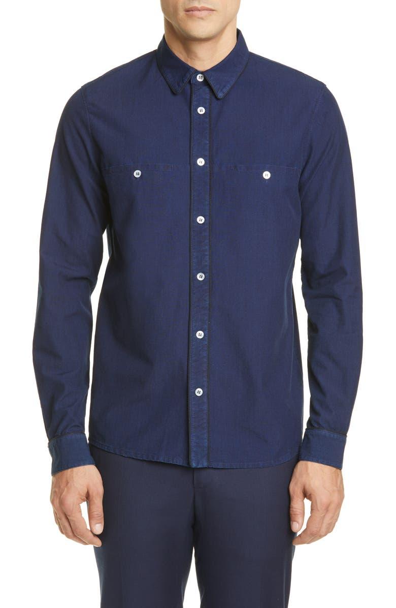 A.P.C. Chemise Elio Woven Shirt, Main, color, INDIGO DELAVE
