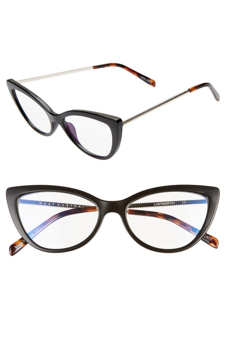 QUAY AUSTRALIA x JLO Lustworthy 55mm Blue Light Blocking Cat Eye Glasses, Main, color, 001