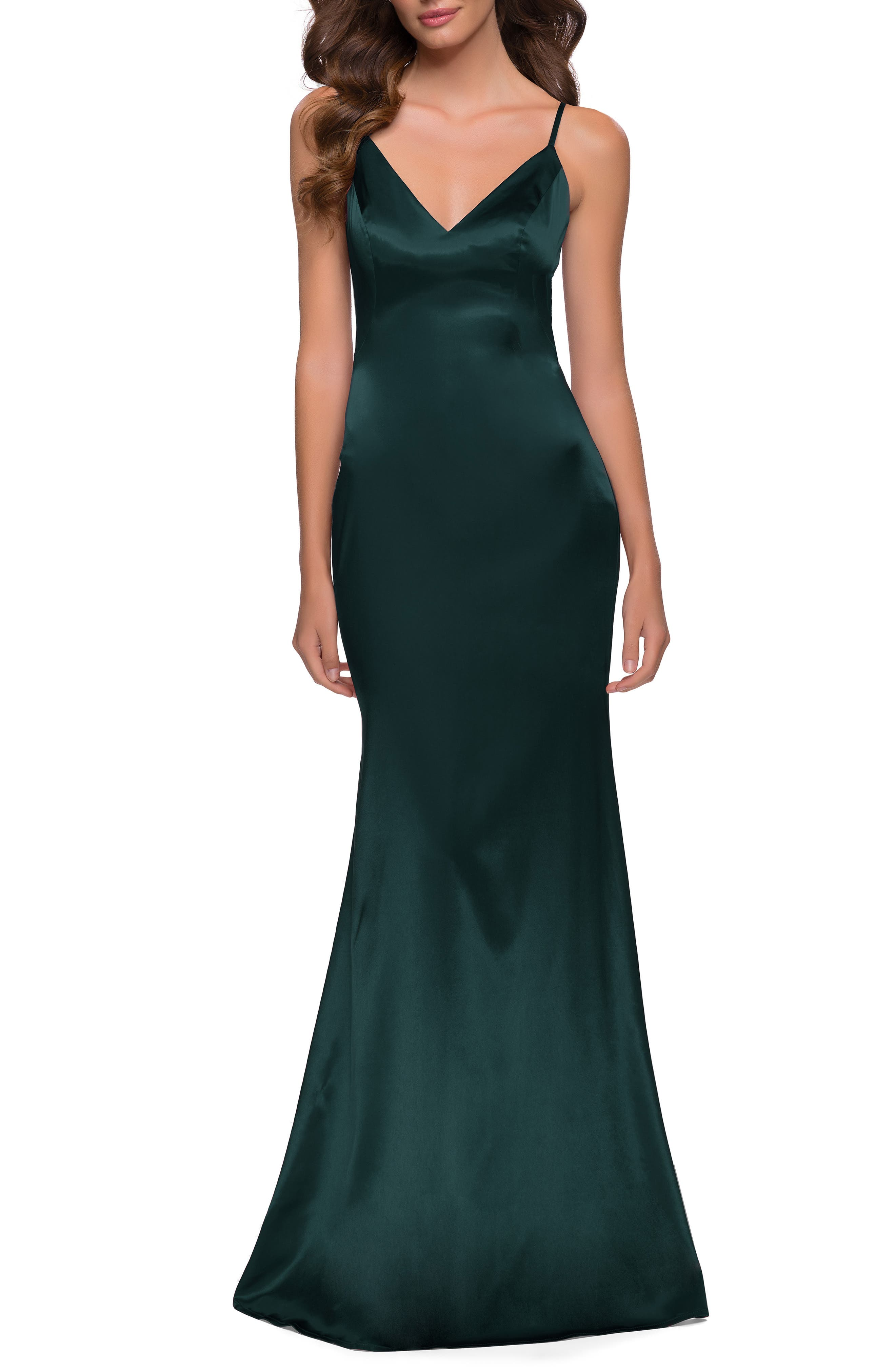 Set your style to stun in a slinky satin gown styled in a curve-skimming silhouette that slightly flares out for alluring movement with every step. Style Name: La Femme Stretch Satin Trumpet Gown. Style Number: 6155858. Available in stores.