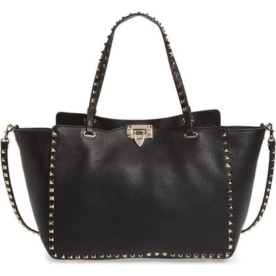 Valentino Garavani Medium Rockstud Grained Calfskin Leather Tote -