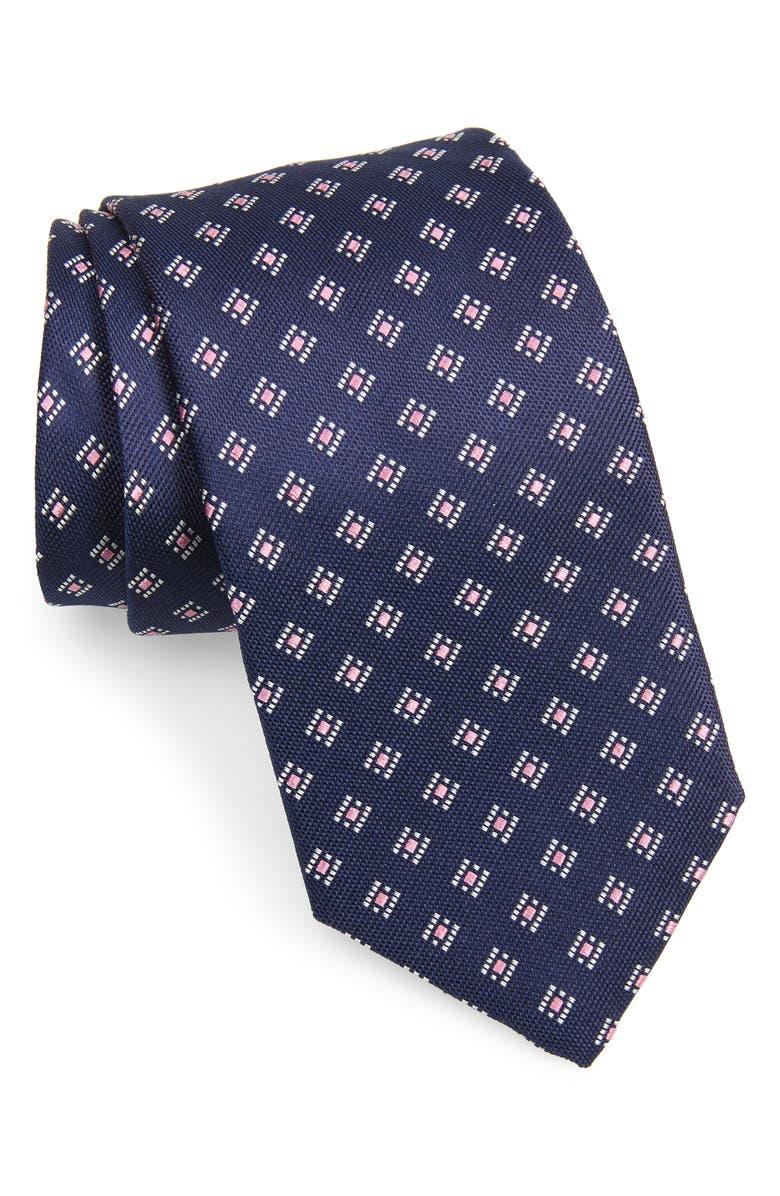 DAVID DONAHUE Diamond Medallion Print Silk Tie, Main, color, NAVY