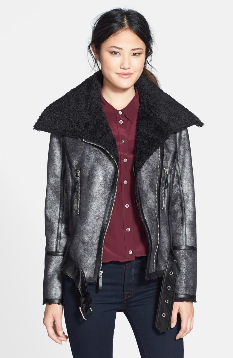 VINCE CAMUTO Faux Shearling Moto Jacket, Main, color, 001