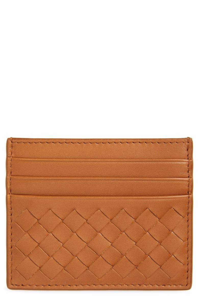 BOTTEGA VENETA Intrecciato Leather Card Case, Main, color, WOOD