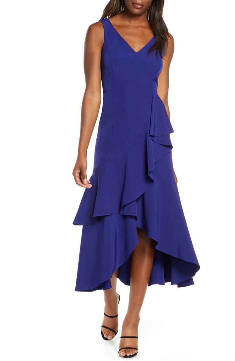TAYLOR DRESSES Crepe Tiered High/Low Midi Dress, Main, color, MAJESTIC INDIGO
