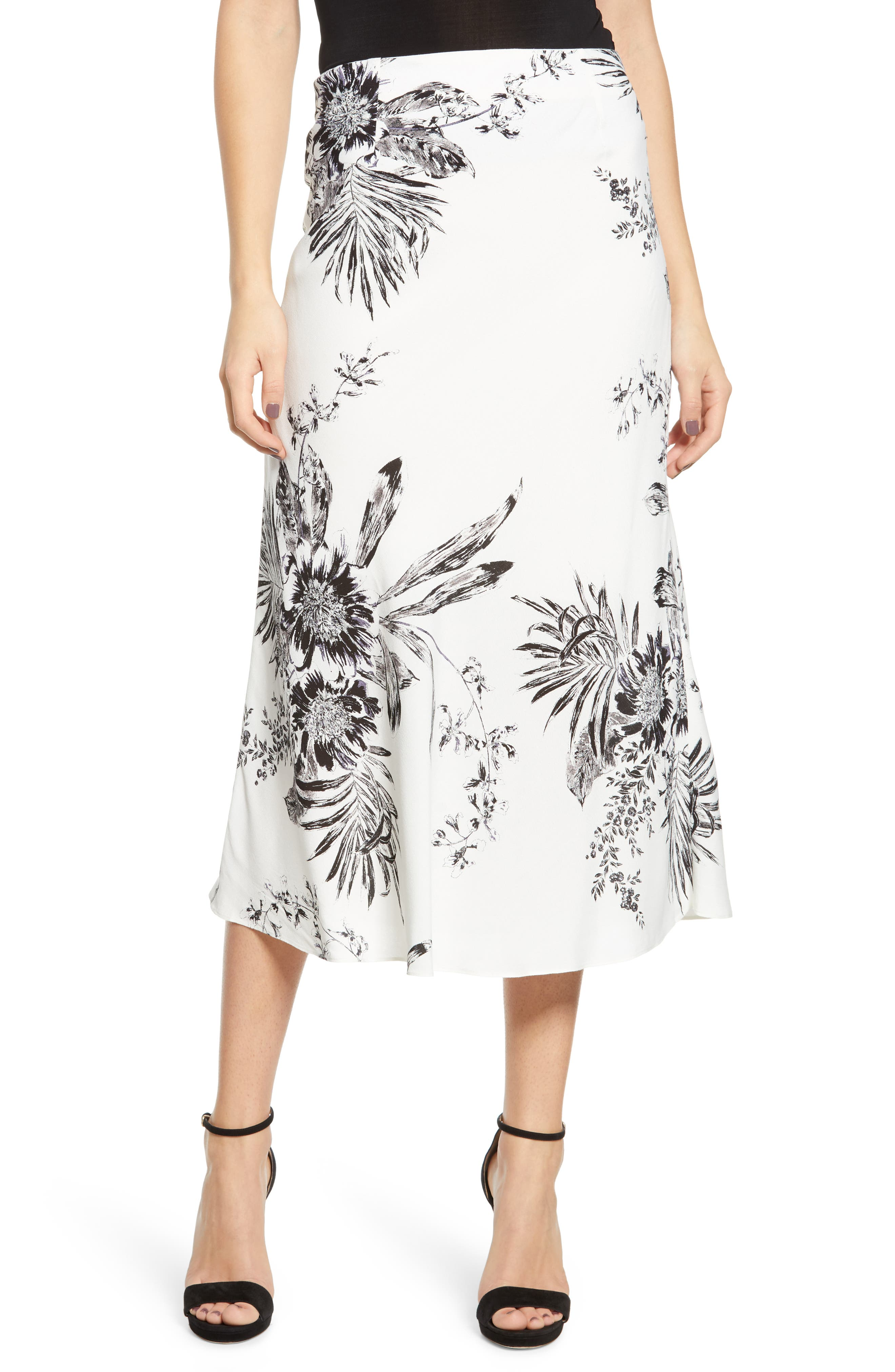Leith Bias Cut Midi Skirt, Ivory