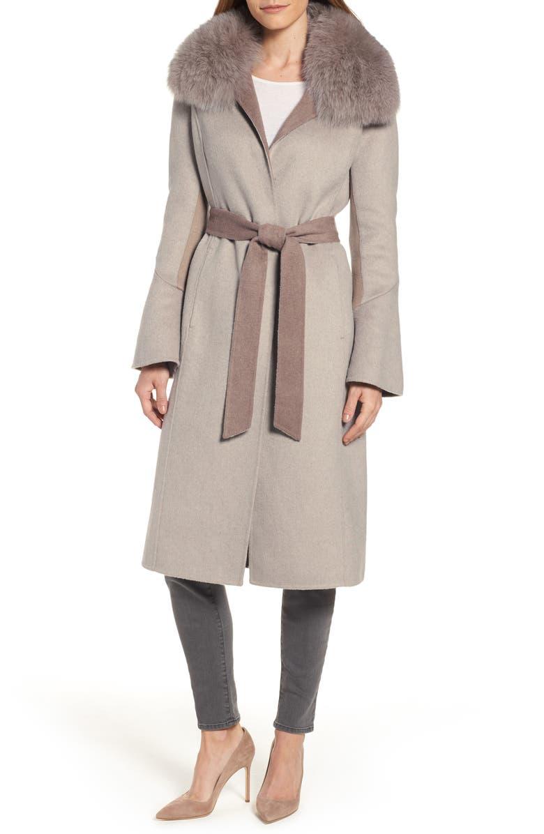 ELIE TAHARI Annabelle Genuine Fox Fur Trim Double Face Long Wrap Coat, Main, color, 259