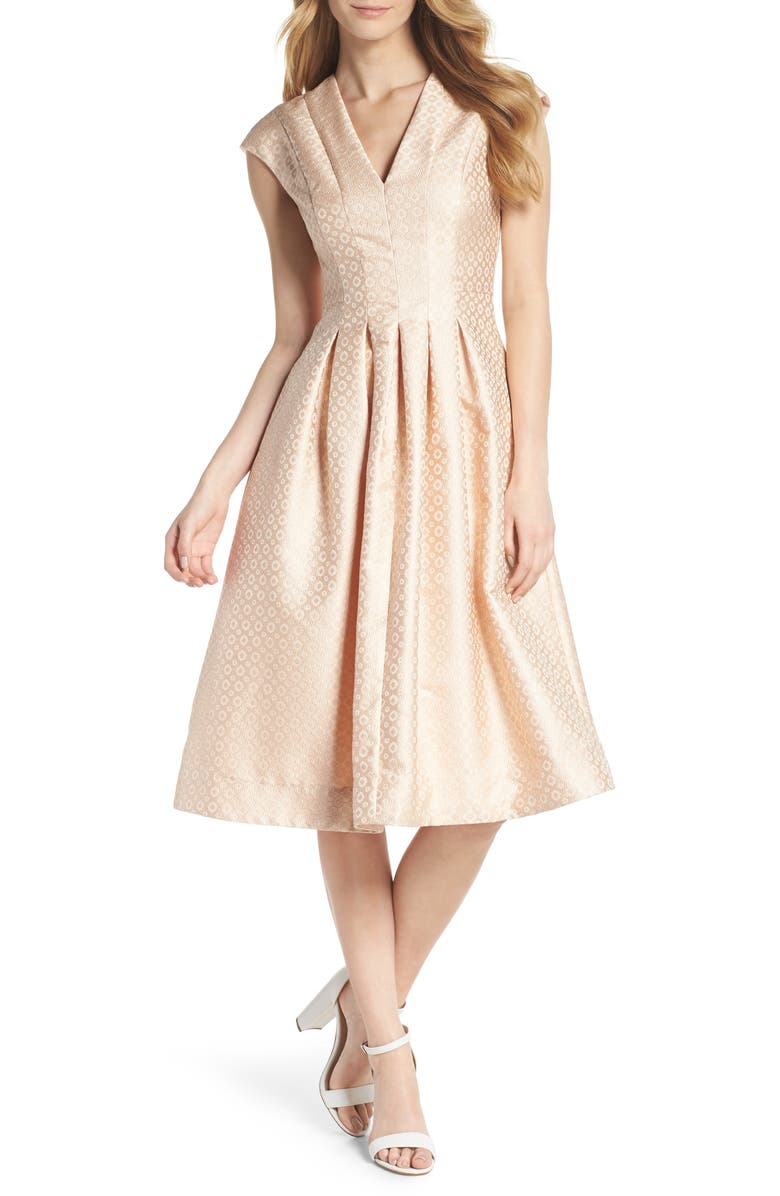 GAL MEETS GLAM COLLECTION Grace Pleated Jacquard Fit & Flare Dress, Main, color, 900