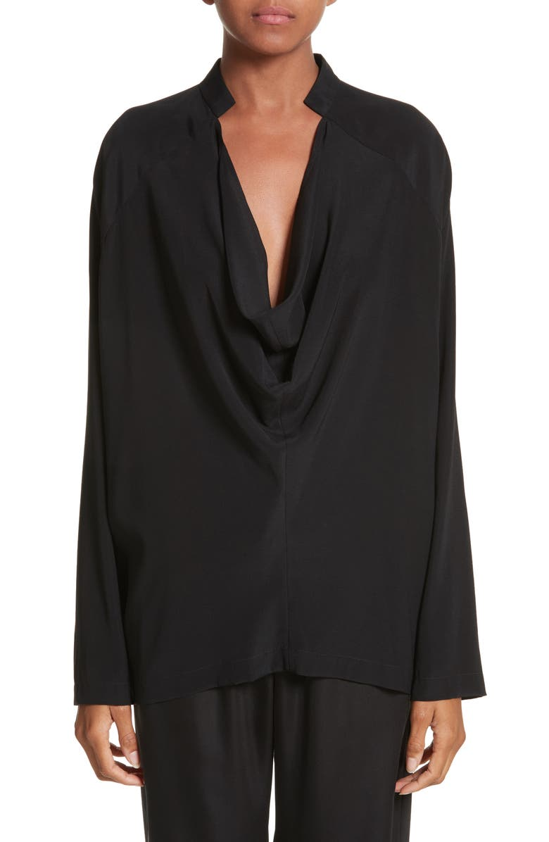 ZERO + MARIA CORNEJO Drape Neck Stretch Silk Blouse, Main, color, BLACK