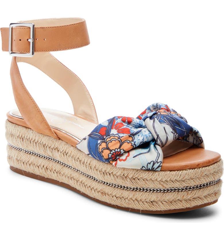 JESSICA SIMPSON Aprille Platform Ankle Strap Sandal, Main, color, BLUE MULTI