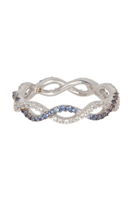 Image of Suzy Levian Sterling Silver Sapphire Diamond Accent Cutout Band - 0.02 ctw