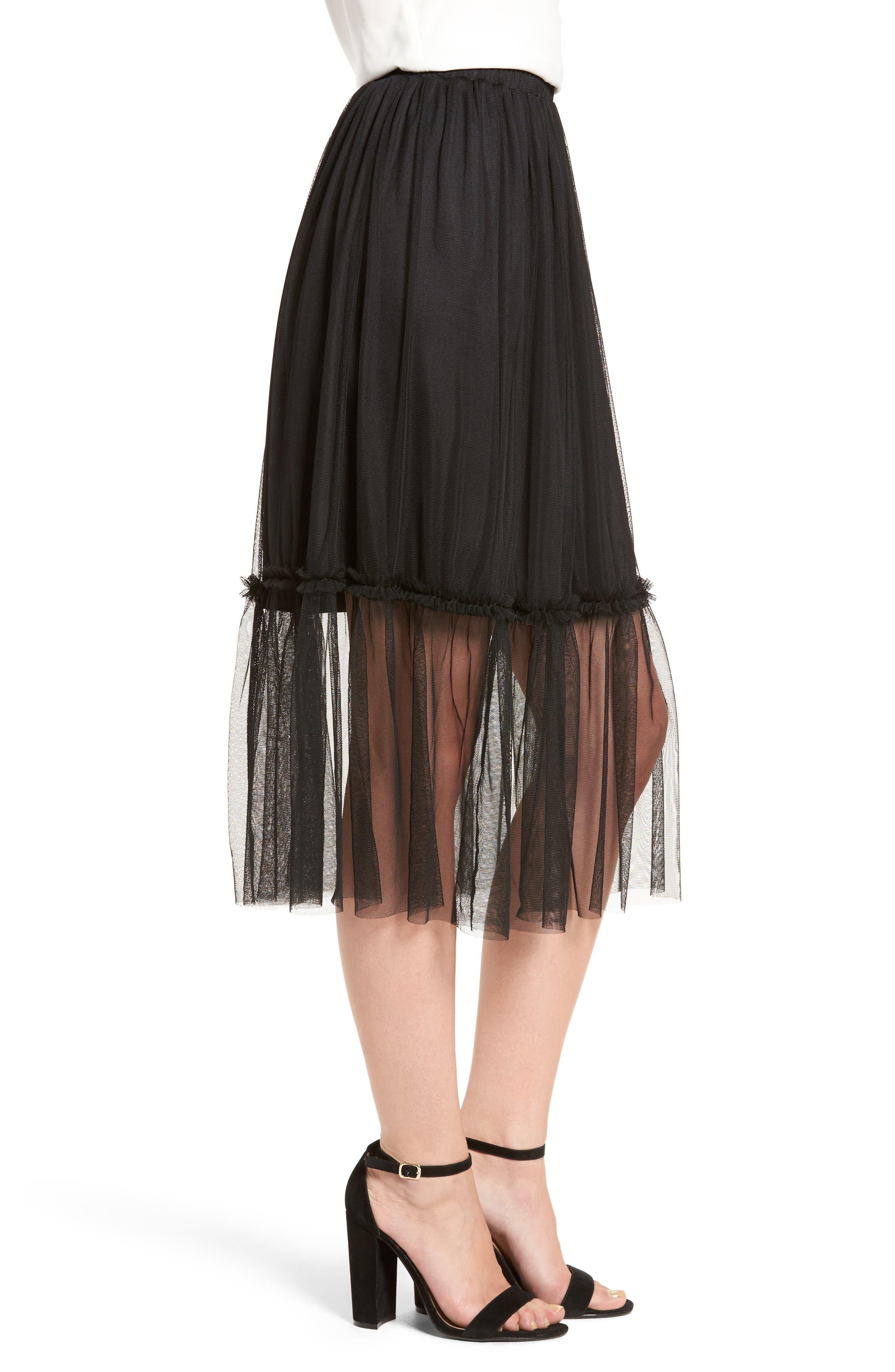 ,                             Tulle Midi Skirt,                             Alternate thumbnail 3, color,                             001