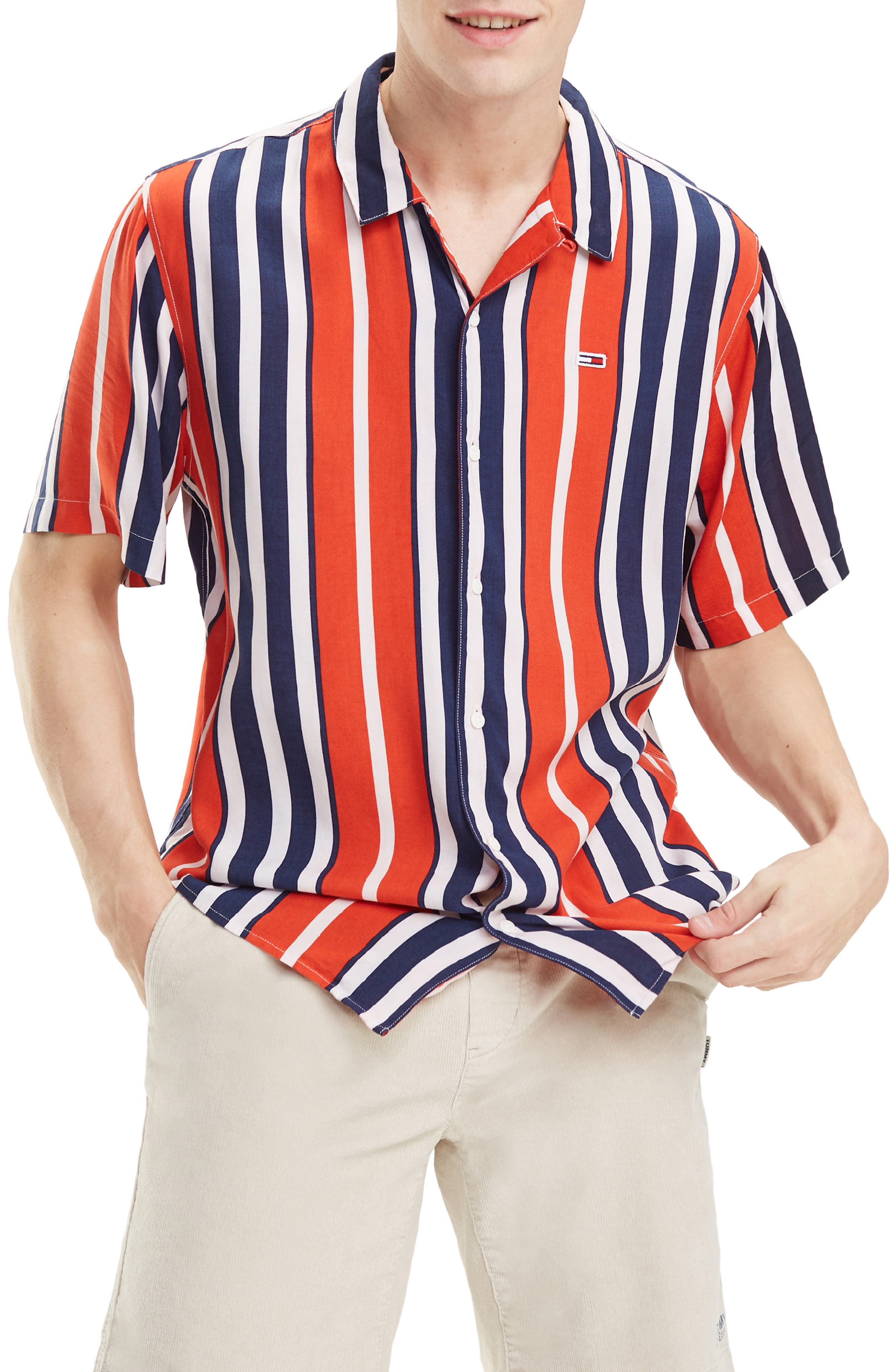 1960s – 70s Mens Shirts- Disco Shirts, Hippie Shirts Mens Tommy Jeans Relaxed Fit Stripe Camp Shirt $31.27 AT vintagedancer.com