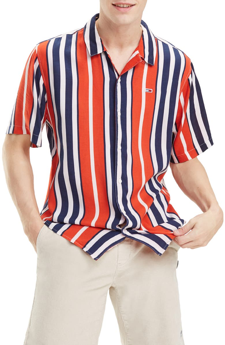 TOMMY JEANS Relaxed Fit Stripe Camp Shirt, Main, color, FLAME SCARLET / MULTI
