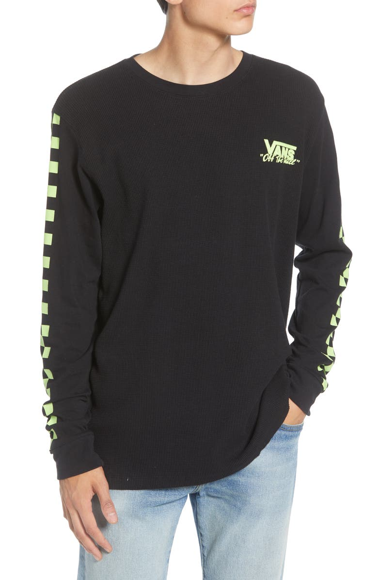 VANS Checker Waffle Knit Long Sleeve T-Shirt, Main, color, BLACK