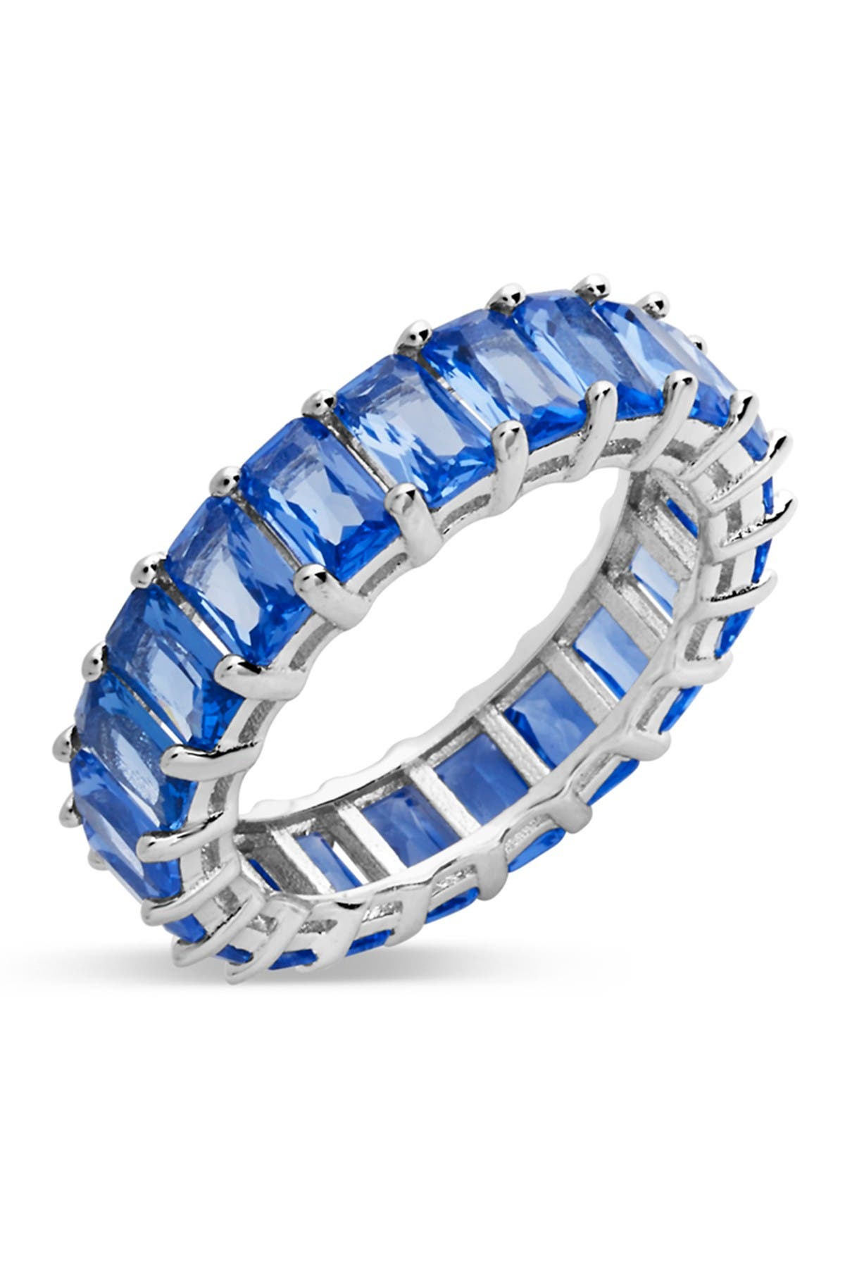 Image of Sterling Forever Sterling Silver Emerald Cut CZ Eternity Band - Light Sapphire