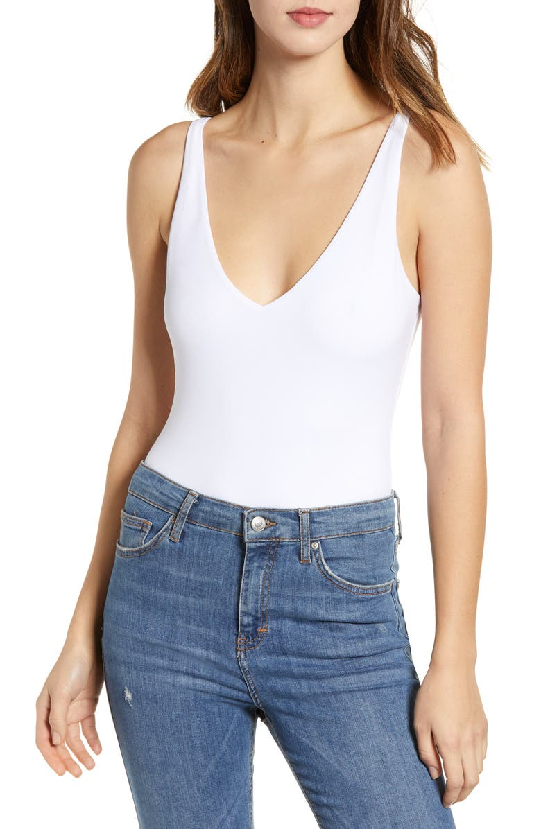 LEITH Double-V Bodysuit, Main, color, WHITE