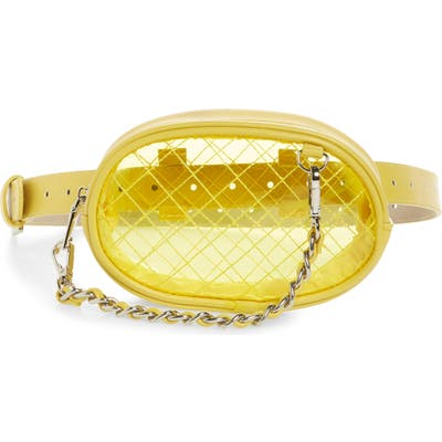 Steve Madden Diamond Quilted Clear Belt Bag - Yellow