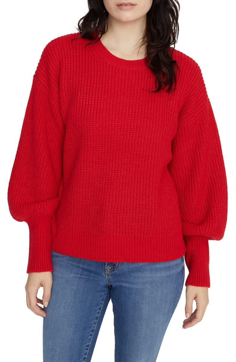 SANCTUARY Turn Up the Volume Sweater, Main, color, PARTY RED