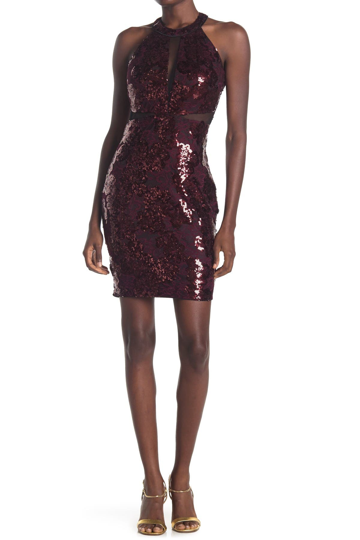 Image of GUESS Halter Neck Sequin Bodycon Dress