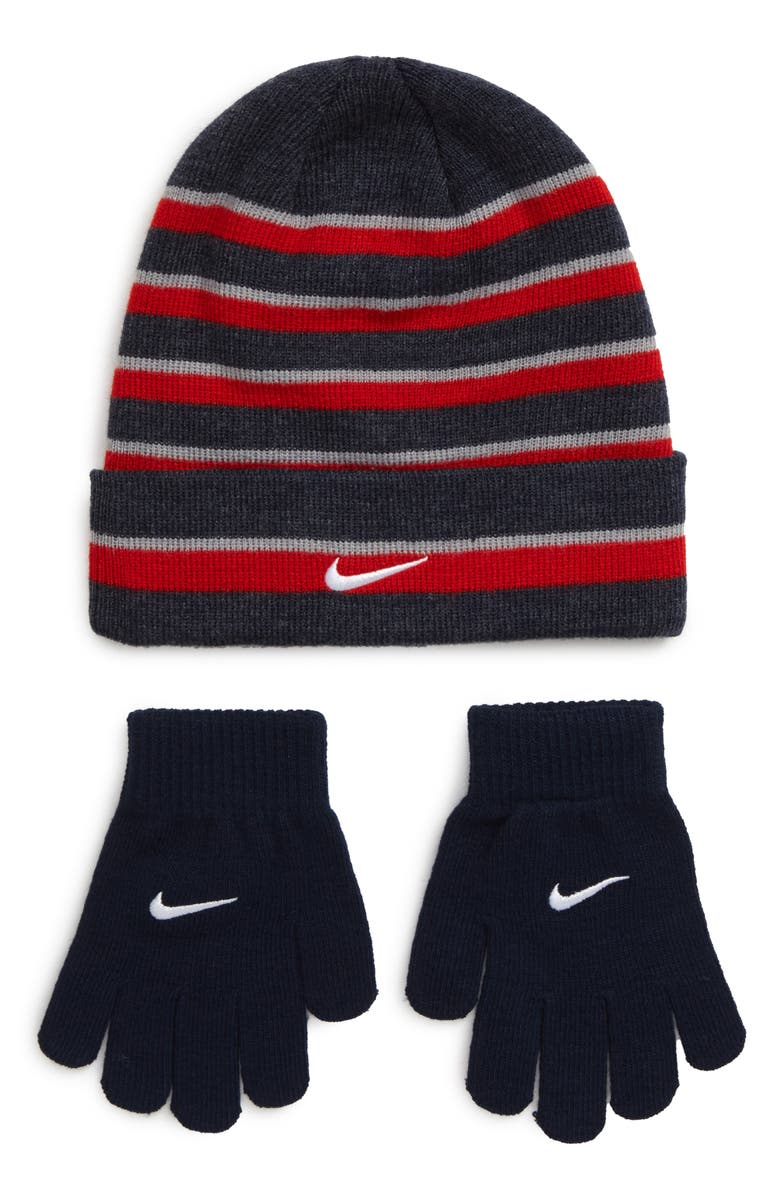 NIKE Heather Stripe Beanie & Gloves Set, Main, color, UNIVERSITY RED